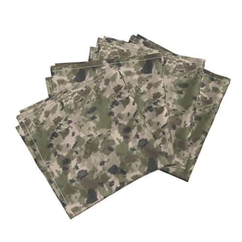 Roostery Camo Organic Sateen Dinner Napkins Wwi Battlefield Trench Camo by Ricraynor Set of 4 Cotton Dinner Napkins made - Trench Sateen