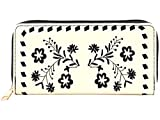 Pulama Embroidered Flower Long PU Leather Wallet Large Capacity Wristlet Card Holder (Black Embroidery Flower)