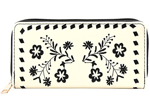 Pulama Embroidered Flower Long PU Leather Wallet Large Capacity Wristlet Card Holder