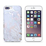 iPhone 7 plus case,CAOUME Gray Rose Gold Marble Case Protective TPU Soft Rubber Silicone Cover Phone Case for Apple iPhone 7 Plus / iPhone 8 Plus [5.5 inch]