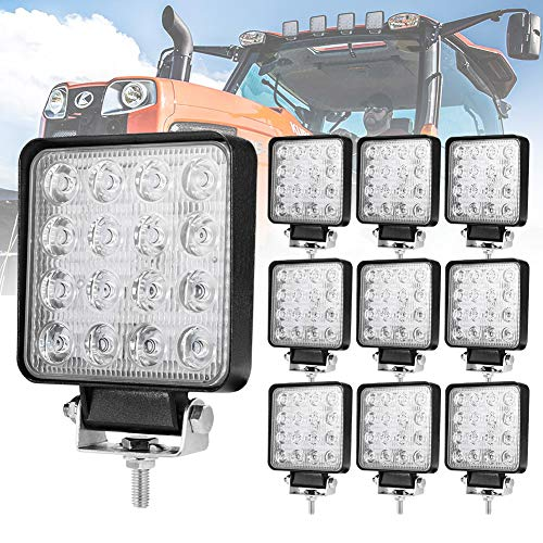 Liteway 10 Pcs LED Work Light - 4 Inch 80W Flood LED Light Bar for Tractor Offroad 4WD Truck ATV UTV SUV Driving Lamp Daytime Running Light, 5 Years Warranty (Tractor Light Bar)