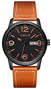 VAVC Men's Fashion Minimalist Casual Brown Leather Band Analog Quartz Wrist Watch with Black Dial and Day Date Function