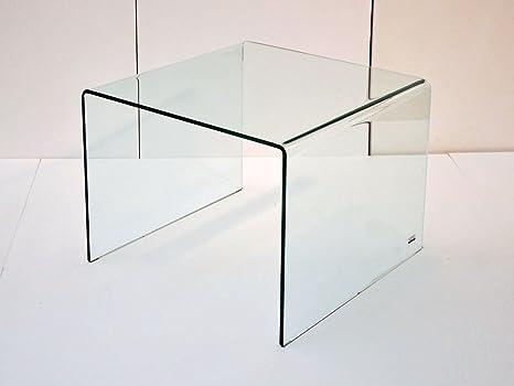 Infabbrica - Tavolino quadrato alto in vetro curvato, Cubo: Amazon ...