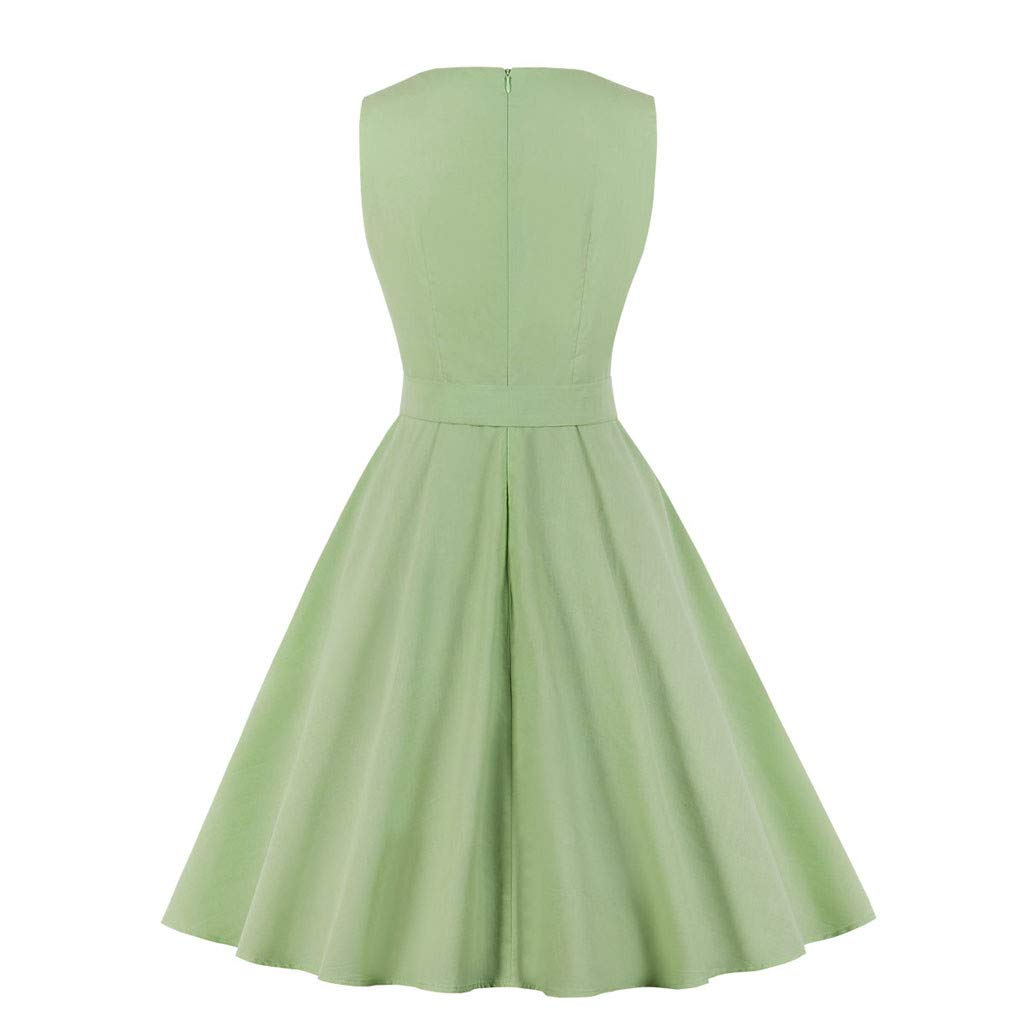 Clearance Swiusd Women Solid Color Sleeveless Mini Dresses Elegant Pocket Swing A Line Party Dresses with Buckle Belt