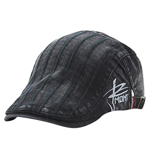Striped Womens Beret - Vertily Hat Unisex Casual Beret Striped Cabbie Korean Cotton Peaked Caps Newsboy (Black)