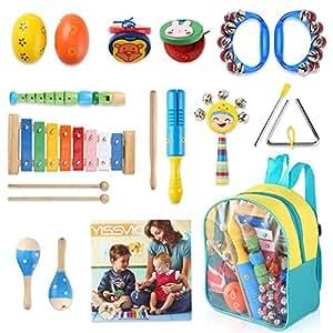 YISSVIC Juguetes de Instrumentos Musicales para Niños 11 en 1 Set Música Juguete Instrumento Educativo Bebés Regalos para los Niños