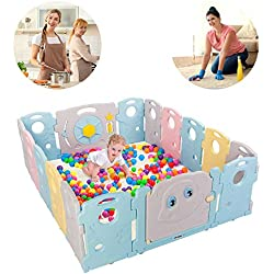 JOYMOR Baby BPA-Free Safety Extra Larger Rubber Anti-Skid Playpen Play Yards Baby Fence Kids Activity Center with Locked Door Home Indoor Outdoor 16 Panels Tortoise and Hare