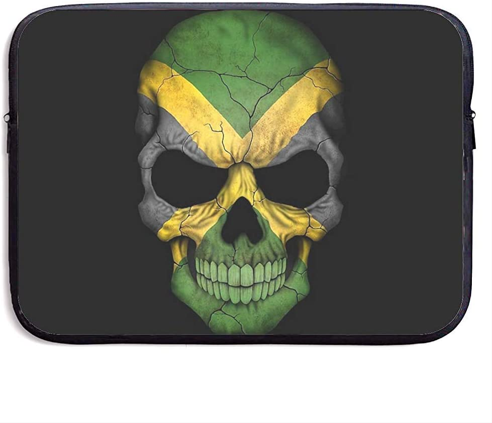 Waterproof Computer Bag,Business Briefcase Sleeve,Laptop Sleeve Case Cover,Jamaican Flag Skull Jamaica Head Compatible Notebook Bag Case,Tablet Case Cover,Laptop Sleeve Bag 13 Inch