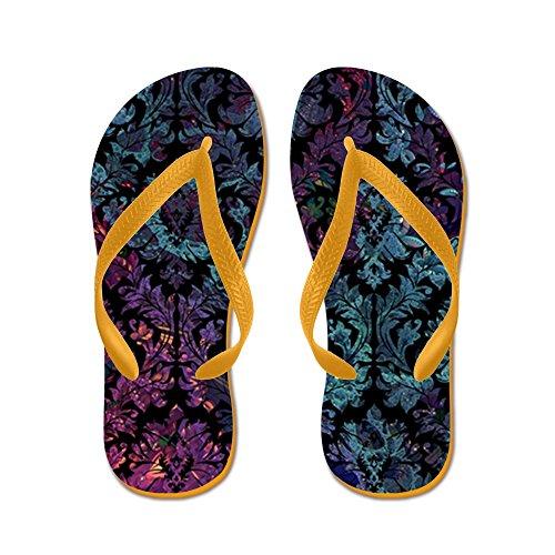 CafePress Damask Pattern On Purple and Blue - Flip Flops, Funny Thong Sandals, Beach Sandals Orange