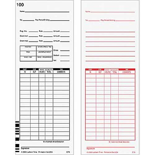Lathem E7 (E79) Compatible Time Cards For 7000E and 7500E Calculating Time Recorders, 1000 Cards, 9 Inch Length