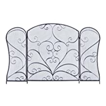 Plutus Brands Metal Fireplace Screen for Modern or Conventional Decor