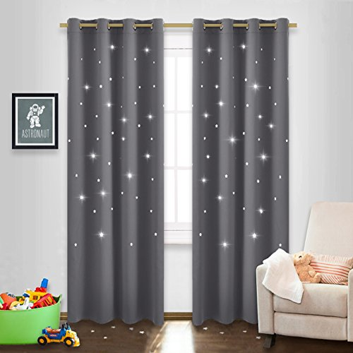 Blackout Curtain Shades with Die-cut Stars - NICETOWN Starry Night Sleep-Enhancing Cosmic Themed Twinkle Drapes for Baby Nursery, Draft Blocking Draperies (2-Pack, W52 x L84 inch, Gray) (Sale Tiny For Doors)