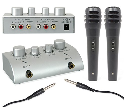 Skytec - Mini pack pour karaoké - Pré-amplificateur ultra compact avec mixage et deux micros main (effet écho, connexion TV ou chaîne HiFi) XXL TV1 karaoke