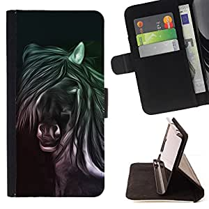BullDog Case - FOR/Samsung Galaxy A3 / - / horse drawing art magic animal wild free /- Monedero de cuero de la PU Llevar cubierta de la caja con el ID Credit Card Slots Flip funda de cuer