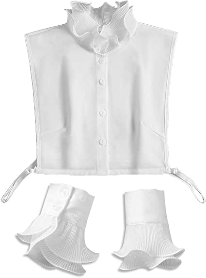 Xuebai Mujeres 2 Piezas Soporte con Volantes Cuello Falso Media Camisa con puños Falsos Conjunto de muñequera Cuello Falso Blanco