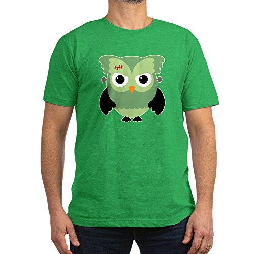 Truly Teague Men's Fitted T-Shirt (Dark) Spooky Little Owl Frankenstein Monster - Kelly Green, Medium -