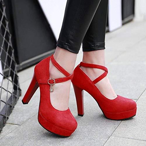 Coolcept Moda Pumps Tacón Mujer Rojo Zapatos Alto UrwBU18q