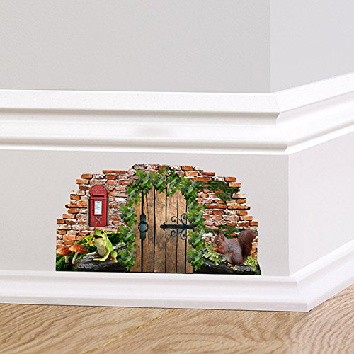 Full Colour Woodland Fairy Pixie Door Skirting Board Wall Sticker Decal Home Dcor Quirky Mural Squirrel Post Box Frog