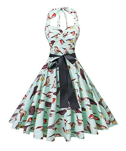 v fashion Women's Vintage 1950s Halter Neck Polka Dot Audrey Hepburn Dress 50s Retro Swing Dresses With Belt,Bird/Mint,X-Large