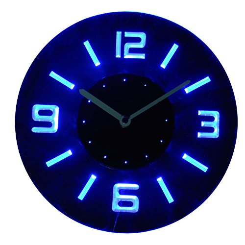 cnc2001-b Round Numerals Illuminated Bar Beer Neon Sign Wall Clock with LED Night ()