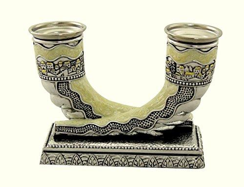 (Judaica Silver Plated Enamel Candlestick 2 Shofar Shabbat Holiday Horn Shape)