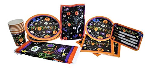 Halloween Party Supplies: Plates, Napkins, Cups, Table Cover, Invitations and Loot Bags for up to 8 (Coffin Halloween Invitations)