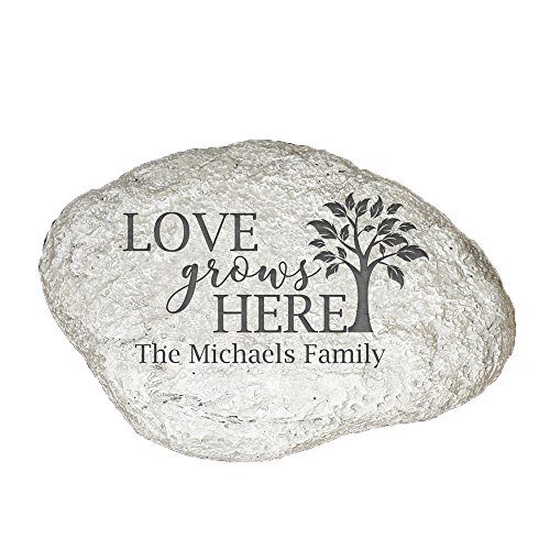GiftsForYouNow Love Grows Here Personalized Garden Stone