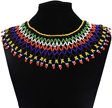 Statement ON SALE African Woman Necklace African Maasai Handmade Beaded necklace Blue Necklace Statement Necklace Necklace for Woman