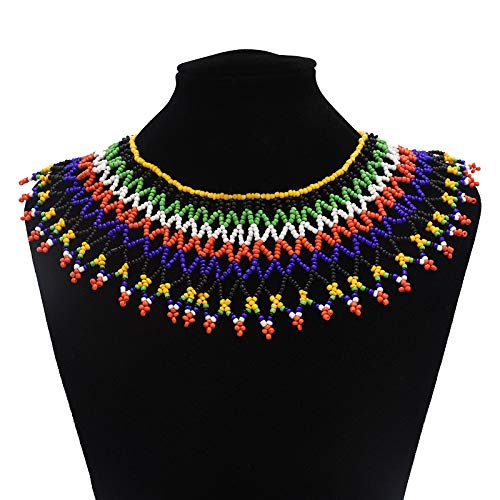 (Multicolor African Necklace| African Jewelry| Zulu Beaded Bib Necklace| South African Statement Necklace| Maasai Necklace| Sister Gifts| (Color A))