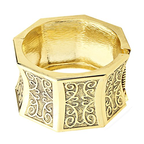 Gold-Tone Octagonal Bangle Bracelet, Chunky, Embossed and Antiqued, 1 ½ Inch Wide, Hinged