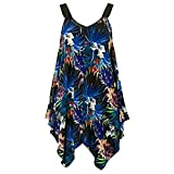 Plus Size Summer Dresses for Women Vintage Floral Print Sleeveless Loose Irregular Hem Casual Mini Vest Dress (Blue, S)