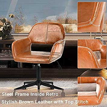 Aingoo Vintage Office Chair Mid Back Swivel Rolling Tilting Accent Adjustable Computer Desk Armchair Brown PU Leather Reception Chair for Home Executive CH-03