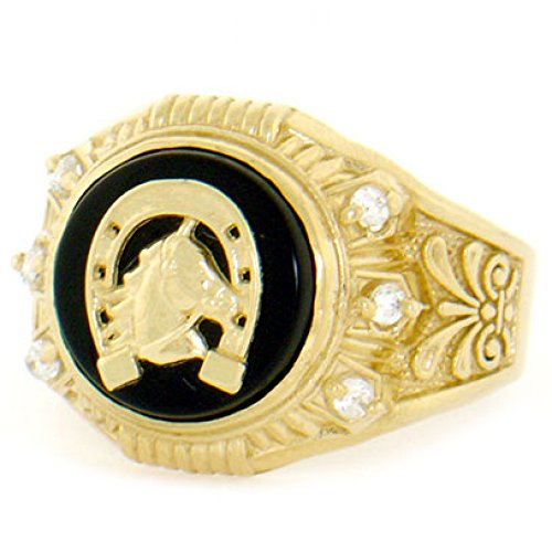 Jewelry Liquidation 10k Solid Gold Round Onyx Lucky Horseshoe CZ Mens Ring ()