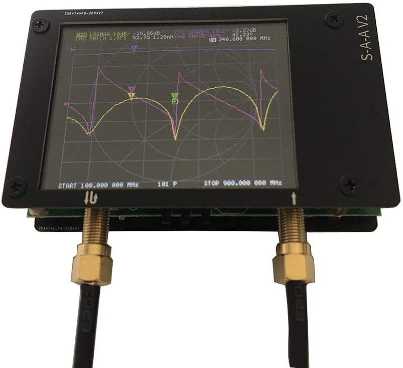 Delay Battery Phase Measuring S-Parameter Voltage Standing Wave Ratio Smith Chart Hima for Vector Network Shortwave HF VHF UHF Antenna Analyzer 50kHz-3GHz+2.8LCD