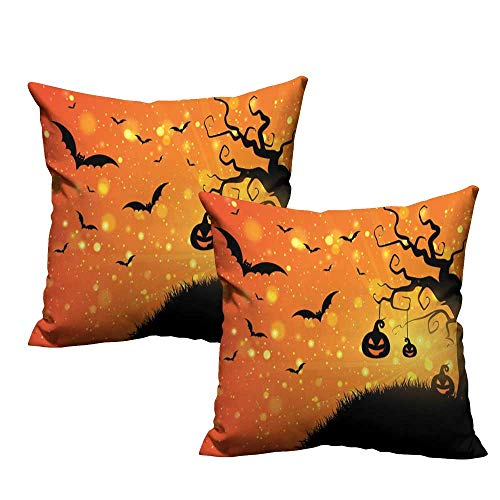Iridescent cloud Breathable Pillowcase Halloween Magical Fantastic Evil Night Icons Swirled Branches Haunted Forest Hill Anti-Fading W15 x L15 Orange Yellow Black]()