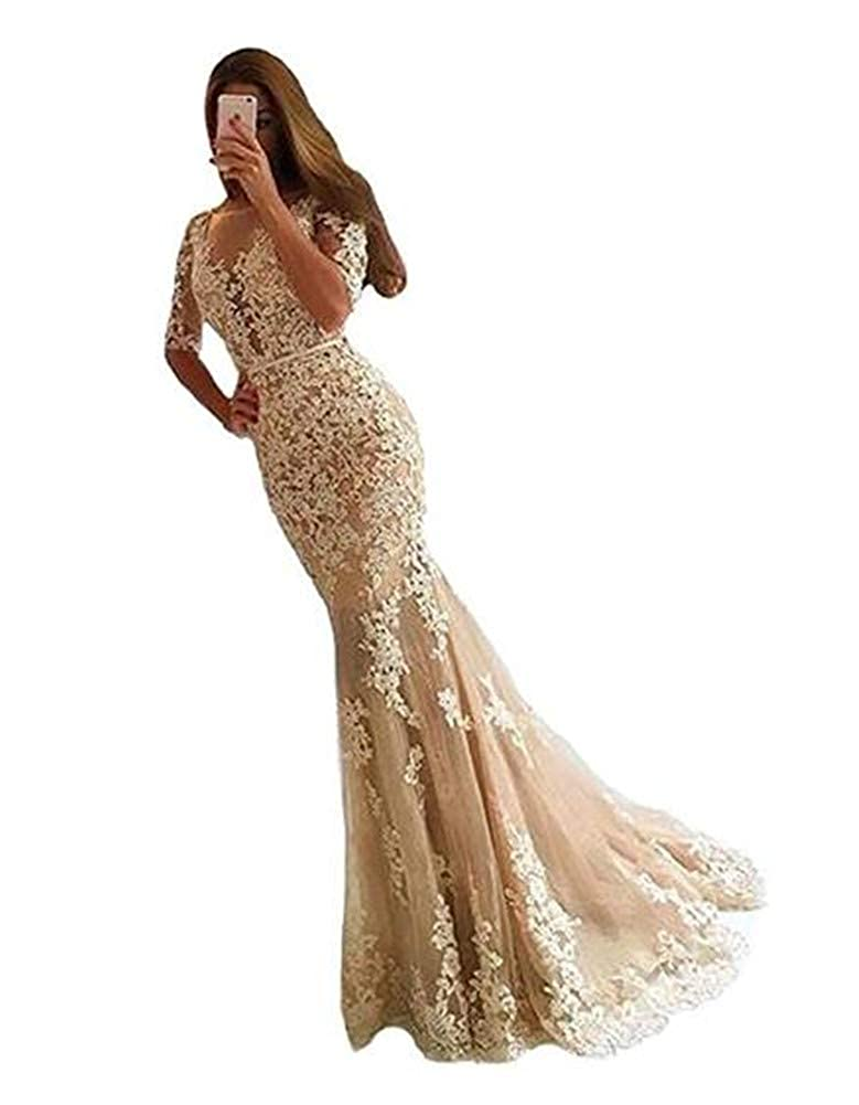 Champagne Yuki Isabelle Lace Appliques Long Evening Gowns for Women Formal Open Back Mermaid Dress