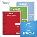 """TOPS/Oxford 1-Subject Notebooks, 8"""" x 10-1/2"""", Wide Rule, 70 Sheets, 3 Pack, Color Assortment May Vary"""