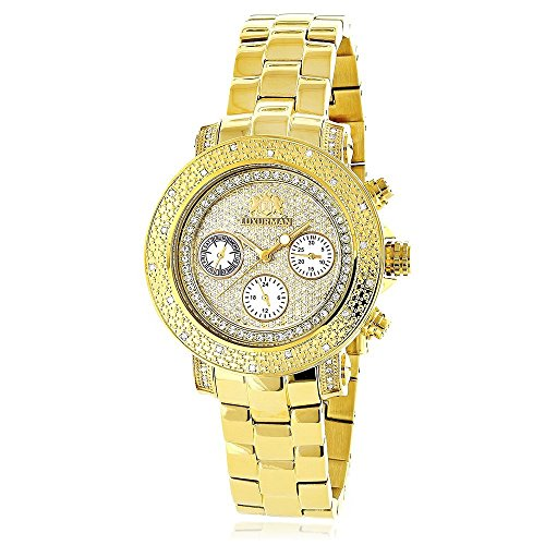 (Large Iced Out Face Womens Diamond Watch Yellow Gold Plated Stainless Steel Case Luxurman Montana 0.3ct)