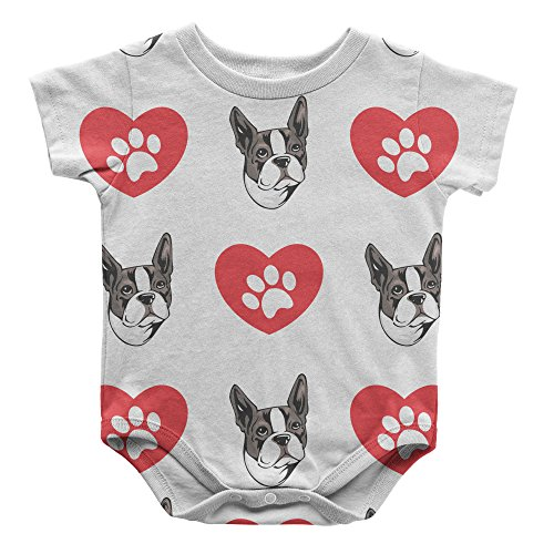 Boston Terrier Dog Heart Paws Infant One Piece Snapsuit Bodysuit 6 Months