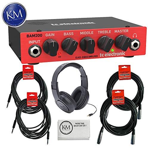TC Electronic BAM200 200 Watt Bass Amplifier Head + (1) Samson SR350 Over-Ear Stereo Headphone + (2) Instrument Cables + (2) XLR Cables + K&M Cloth Bundle ()