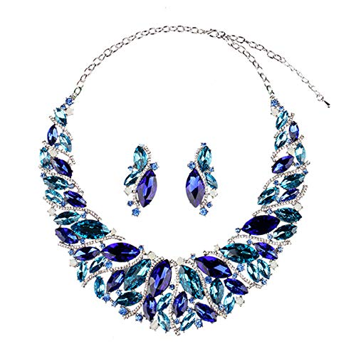 Hamer Bridal Link Costume Jewelry Crystal Choker Pendant Bib Statement Chain Charm Necklace and Earrings Sets ()