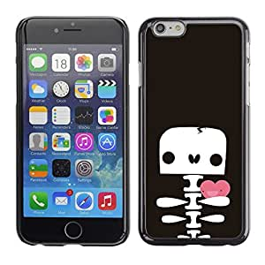Caucho caso de Shell duro de la cubierta de accesorios de protección BY RAYDREAMMM - Apple iPhone 6 - Skull Skeleton Cute Drawing Valentines