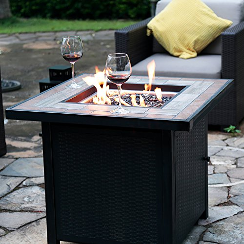 LP Gas Fire Table 30-in W 50000-BTU Propane Gas Fireplace Outdoor Fire Pit by Bali (Black Gas Fireplace)