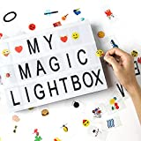 Cinema Light Box with 170 Letters and Emoji Symbols, Dreamore DIY Cinematic LED Light Box, Combination for Birthday Party, Home Decor