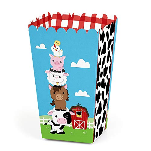 Farm Animals - Baby Shower or Birthday Party Favor Popcorn Treat Boxes - Set of 12 by Big Dot of Happiness