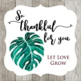 Monstera Leaf So Thankful For You Favor Stickers for Wedding Bridal Baby Shower Party - Set of 30
