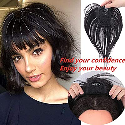 Moxinalako Human Hair Topper Clip In Crown Hairpieces Short Straight Wiglet For Women With Thinning Hair Gray Hair Toupee Silk Base Natural Black Buy Online At Best Price In Uae Amazon Ae