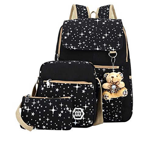 Canvas Book Box - Fanci Teenager Girls Backpack Canvas Rucksack School Book Bag with Pencil Case