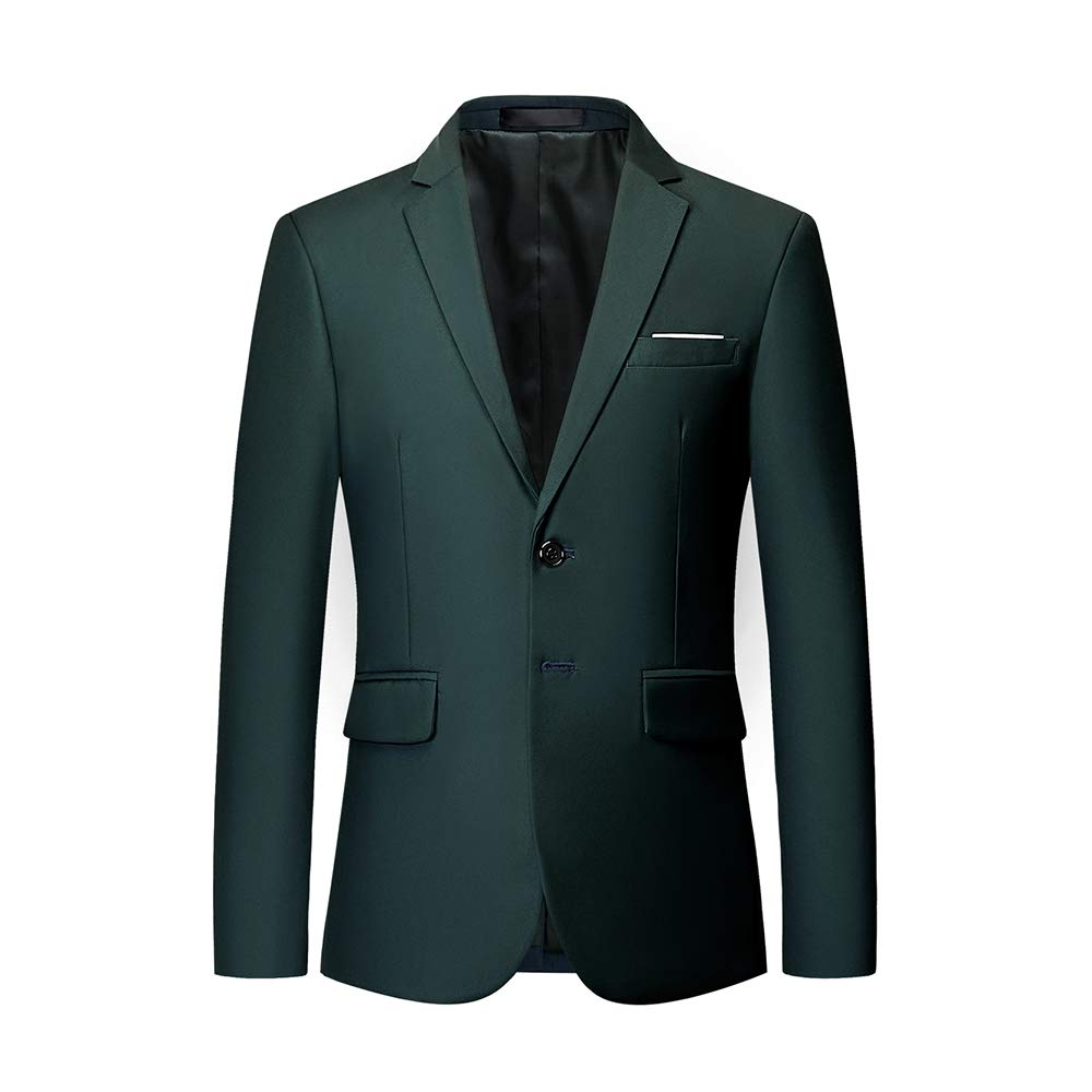 UNINUKOO Mens Two Button Single Breasted Suit Jacket Slim Fit