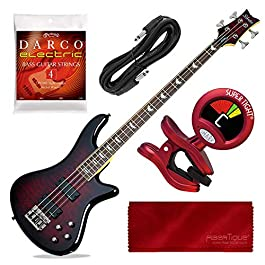 Schecter Stiletto Extreme-4 Bass Guitar (4 String, Black Cherry) with Tuner and Accessory Bundle